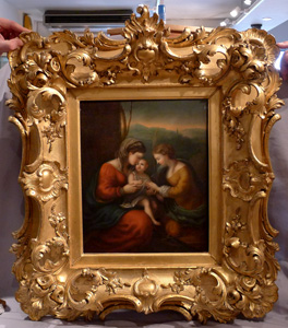 Antique Italian painting in oil on board of Mother and Child  painting in superb frame.