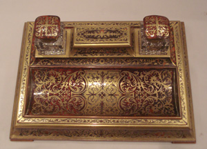 Antique English boulle (red tortoiseshell and inlaid brass).ecrier or desk tidy.
