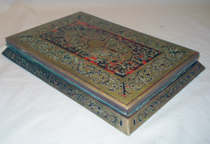 Antique English Victorian boulle portable writing slope.