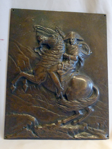 Antique Bronze plaque of Napoleon crossing the Alps after the painting by David.
