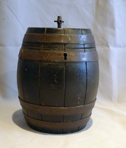 Antique English tea caddy in the form of a barrel