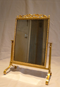 Antique Ormolu/gilt bronze Viennese miniature cheval mirror.
