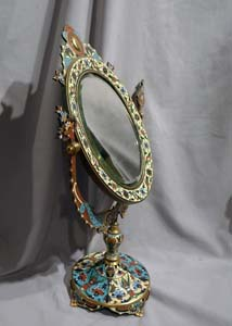 Antique French champleve enamel and gilt bronze mirror on stand