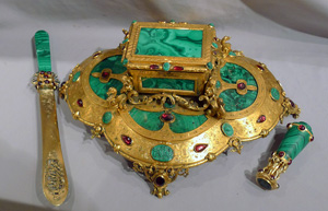 Antique malachite and silver gilt, gilt bronze and malachite intaglio desk set.
