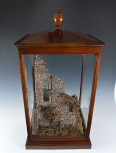Rare antique mahogany casedcork model of castle ruins.