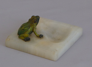 Antique Austrian pintray with cold painted bronze Frog on an onyx base