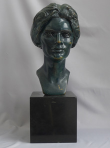 Superb bronze bust on marble base of Constance Irene Morris signed by Anna Coleman Watts Ladd