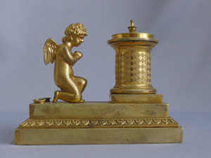 Antique French Empire Ormolu Cherub Inkwell