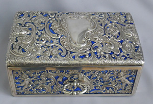 Superb Antique English Silver and Enamel Casket by William Comyns