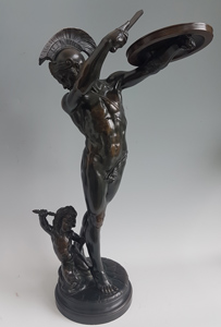 Antique Patinated Bronze of a Gladiator and Jupiter Signed Cugnot