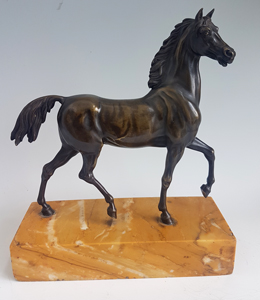 Antique Grand Tour bronze horse set on Sienna marble base