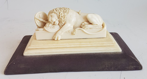 Grand Tour antique ivory carving of the Swiss lion of Lucerne