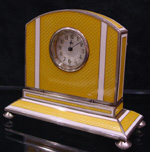 Silver and yellow guilloche enamel boudoir clock