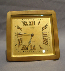 Gilt bronze strut clock by Finnegan, London.