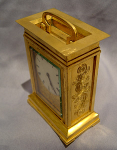 Antique English fusee ormolu carriage clock.