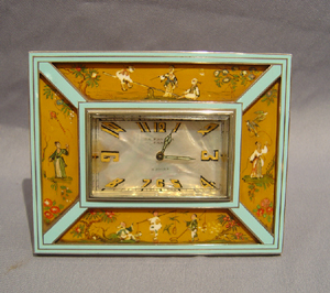 Swiss enamel and hand painted chinnoisserie strut clock.