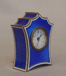 Sub miniature Silver & blue guilloche enamel bat wing
