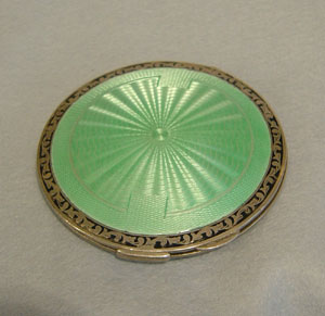 Large Green & Black guilloche enamel compact