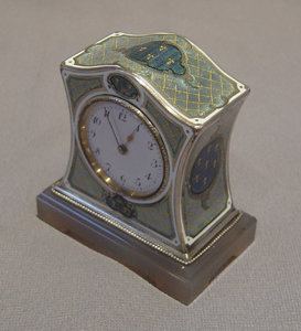 Silver, enamel and nephrite boudoir clock.