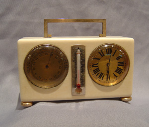 Antique Ivory and silver desk clock compendium.