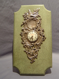 Antique French Napoleon III Silver & shagreen Strut clock.