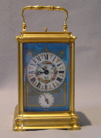 Antique French Napoleon III 5 panel porcelain repeating carriage clock with alarm.
