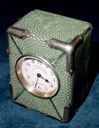 Antique English miniature silver and shagreen carriage clock by Thornhill of London.