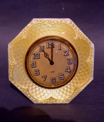 Swiss silver and yellow enamel strut or easel clock.