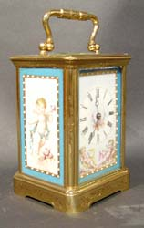 Antique French Napoleon III porcelain panelled  carriage clock.