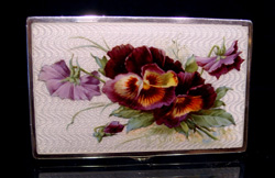 English silver and hand painted guilloche enamel box with pansies.