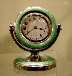 English silver and green guilloche enamel clock in form of mirror