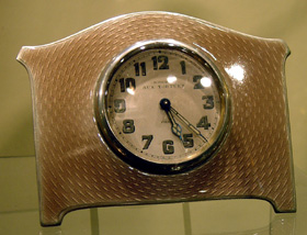 English silver and mink guilloche enamel strut or easel clock.