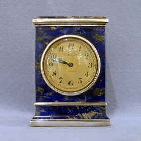 Antique French Lapis lazuli and silver carriage clock signed by Keller Paris on dial and case.