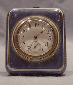 Antique French mauve guilloche enamel & silver paperweight clock