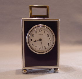 Cartier purple and silver enamel carriage clock