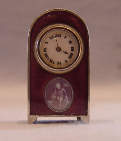 Swiss silver & aubergine guilloche sub-miniature with signed panel.
