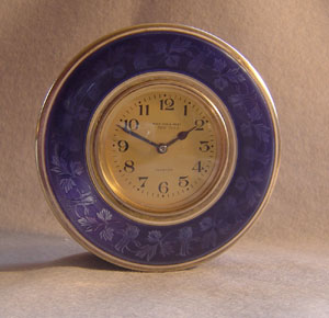Antique French silver gilt and floral patterned guilloche enamel clock box