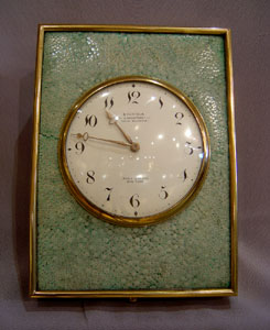 Antique shagreen and brass strut  clock by Dreyfous in the Georgian manner.