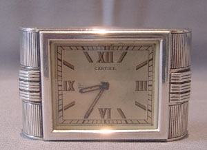 Silver Cartier Art Deco strut clock in silver hallmarked 1935.