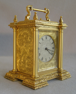 English fusee carriage clock by Harvey & Co. Strand London.