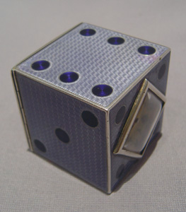Austrian purple guilloche enamel and silver dice clock.
