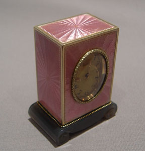 Fabulous pink guilloche enamel and silver gilt sub-miniature carriage clock by Tiffany