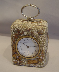 silver, shagreen and shibyama clock by William Thornhill, London