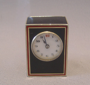 Antique tiny sub-miniature silver gilt and  black and red enamel carriage clock, Swiss.