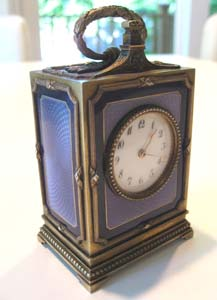 Guilloche enamel and silver gilt 1/4 miniature carriage clock.
