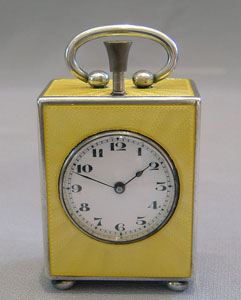 Fine silver and Imperial yellow guilloche enamel 1/4 repeater in carrying case.