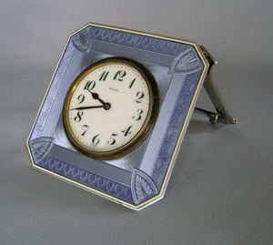 Antique strut clock in Steel Blue Guilloche enamel and silver.