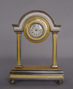 Antique guilloch enamel and silver portico clock.