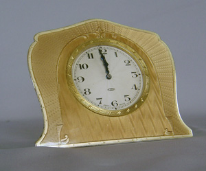 Antique enamel and silver clock of strut form, Swiss.