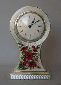 Antique English enamel and silver Edwardian mantel clock, Hallmarked for 1905